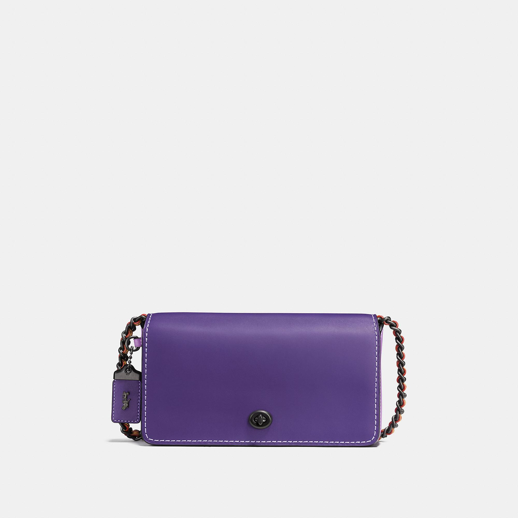 Coach Dinky In Colorblock Glovetanned Leather In Black Copper/iris