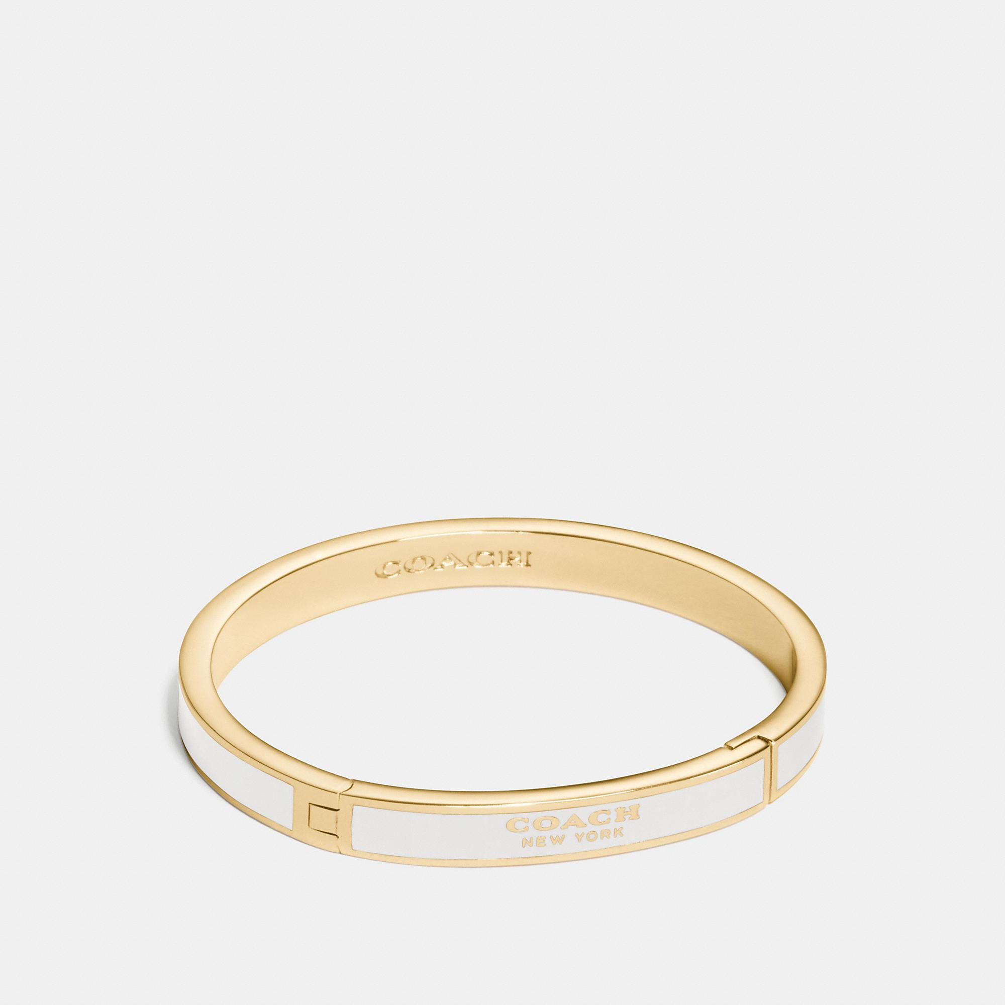 Coach Enamel Hinged Bangle In Chalk/gold