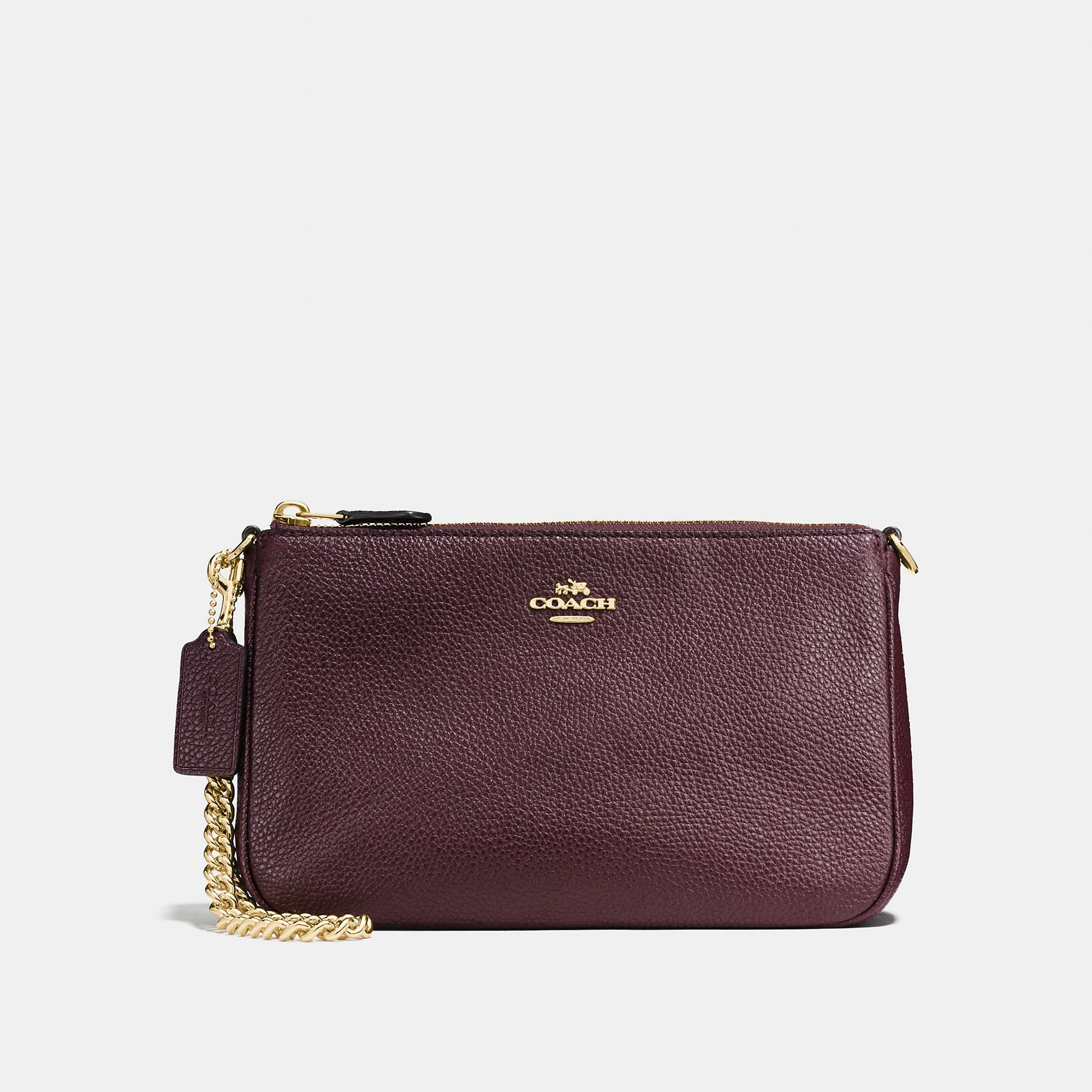Coach Nolita Wristlet 22 In Polished Pebble Leather In Oxblood/light Gold