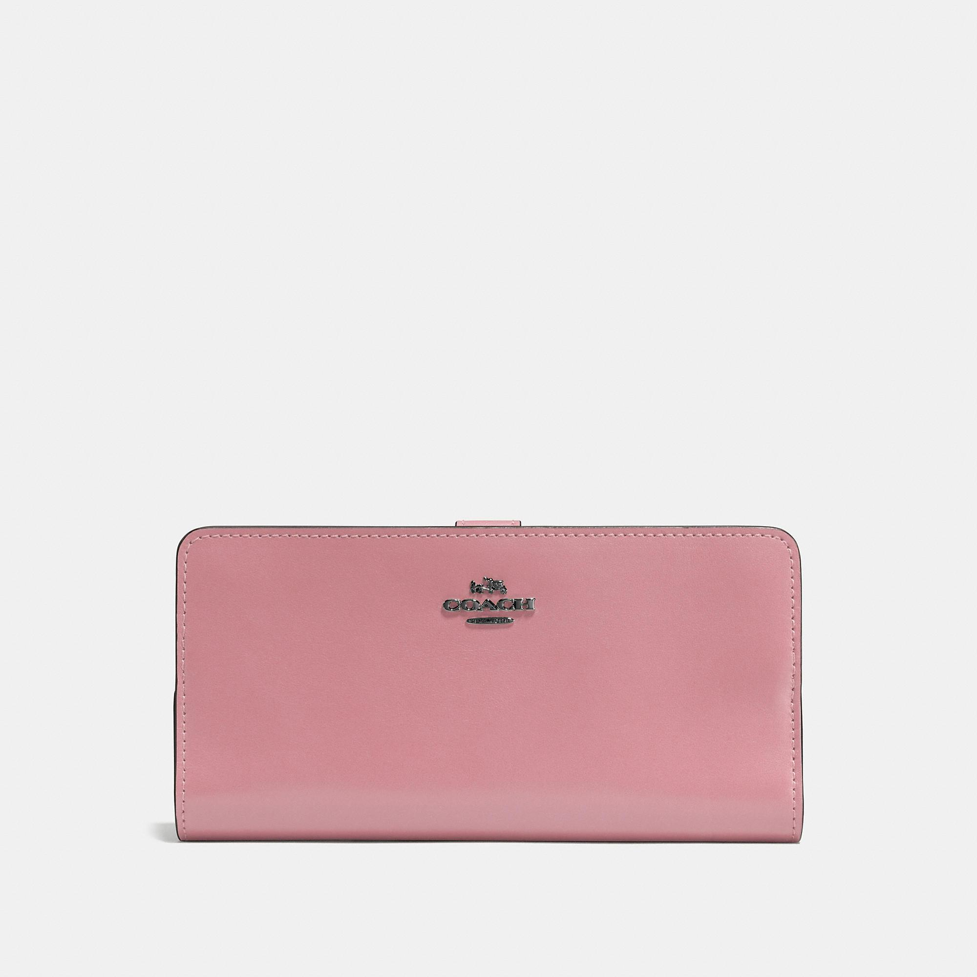 Coach Skinny Wallet In Refined Calf Leather In Dusty Rose/dark Gunmetal