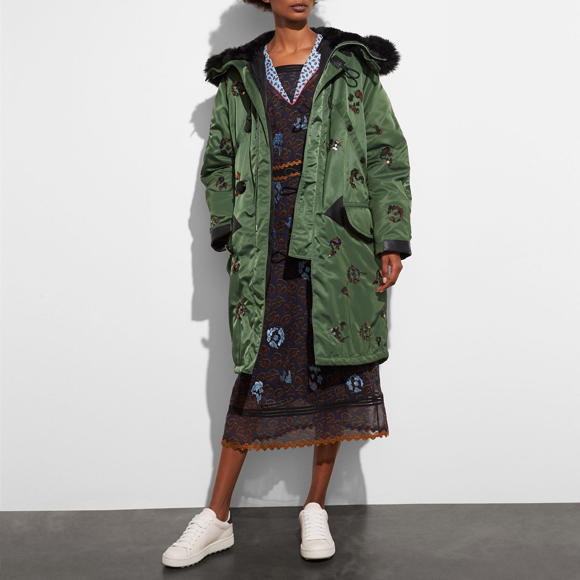 Coach Embellished Parka In Green