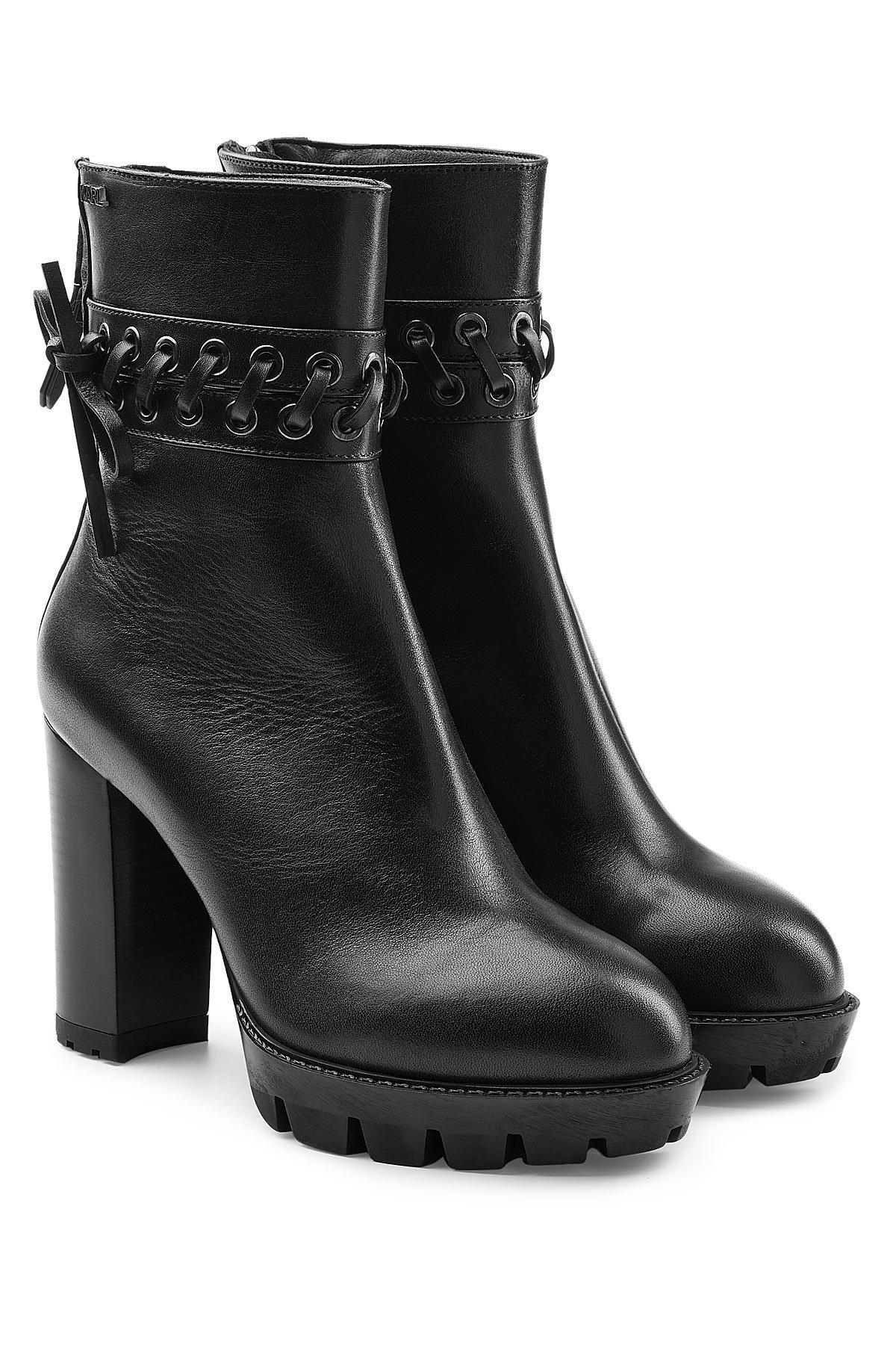 Karl Lagerfeld Leather Ankle Boots With Gripped Platform In Black