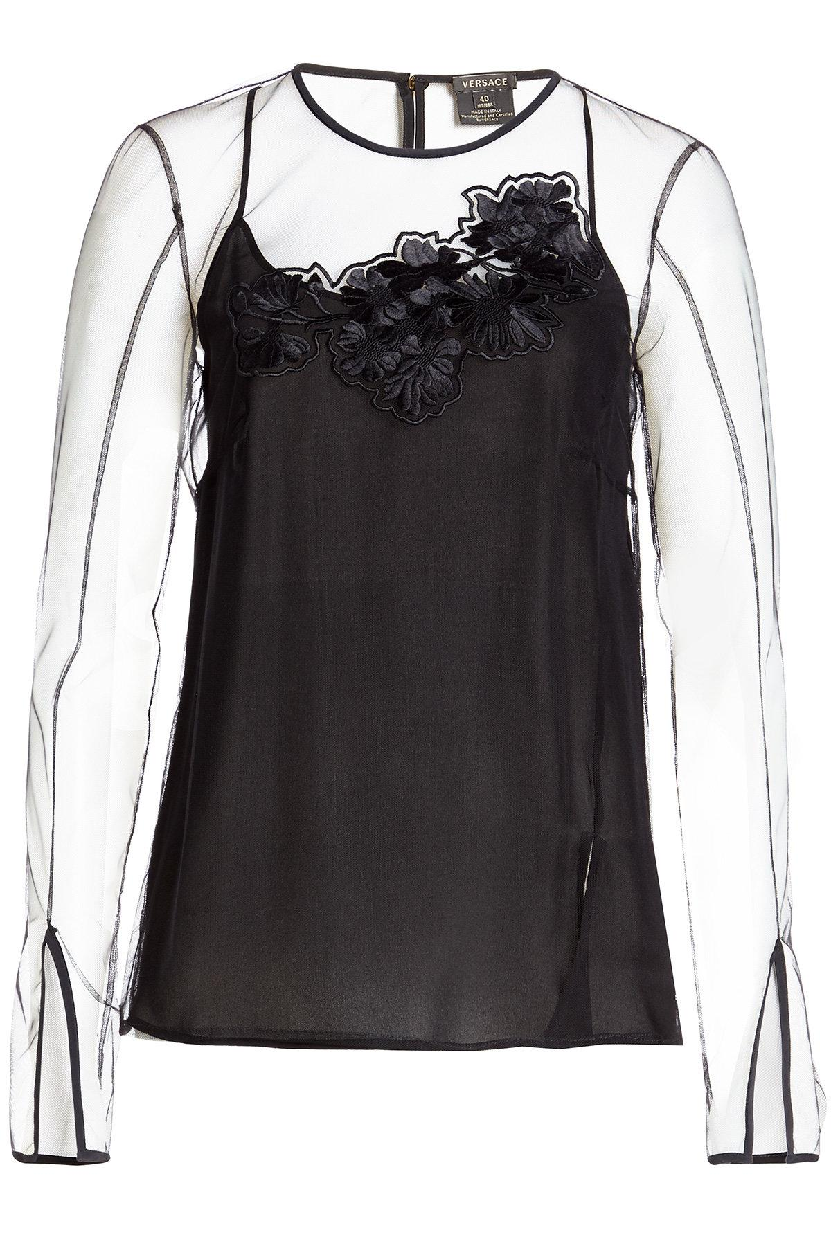 Versace Top With Sheer Overlay And Appliqu © In Black
