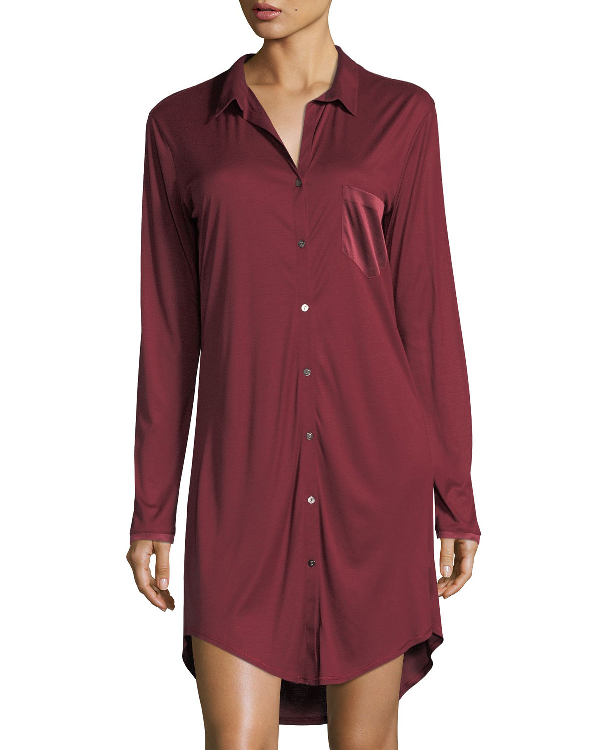 Hanro Grand Central Silk-Blend Sleepshirt In Maroon
