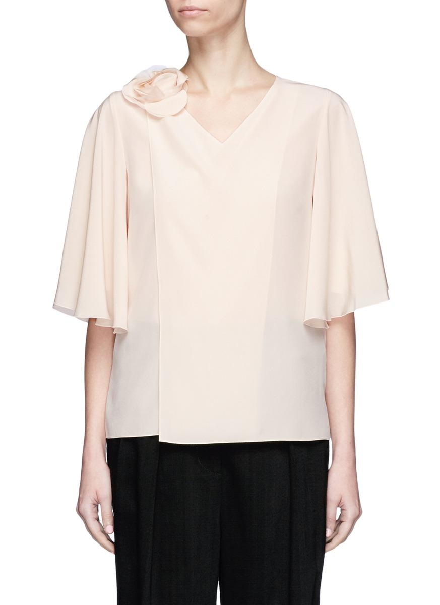 Lanvin Mother Of Pearl Floral Mock Wrap Silk Crepe Top