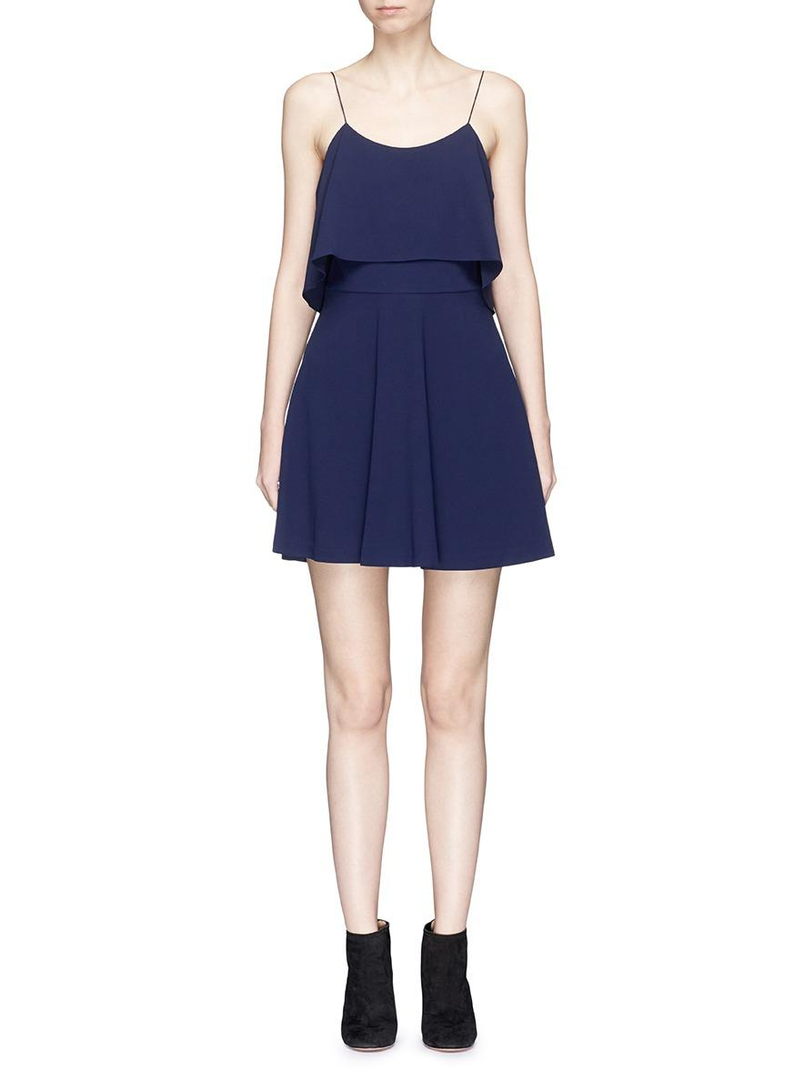 Alice And Olivia 'kipp' Ruffle Overlay Crepe Dress