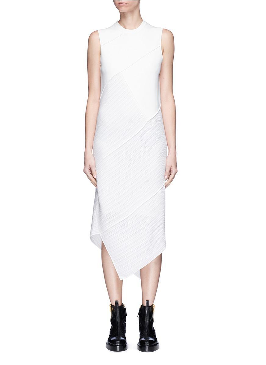 Proenza Schouler Asymmetric Mixed Knit Patchwork Dress