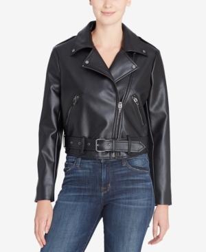 Catherine Malandrino Catherine  Veruca Faux-leather Moto Jacket In Black Beauty