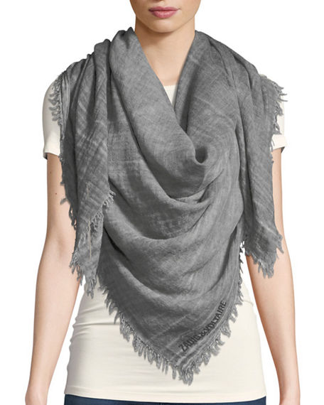 Zadig & Voltaire Anael Fringe Scarf In Gray