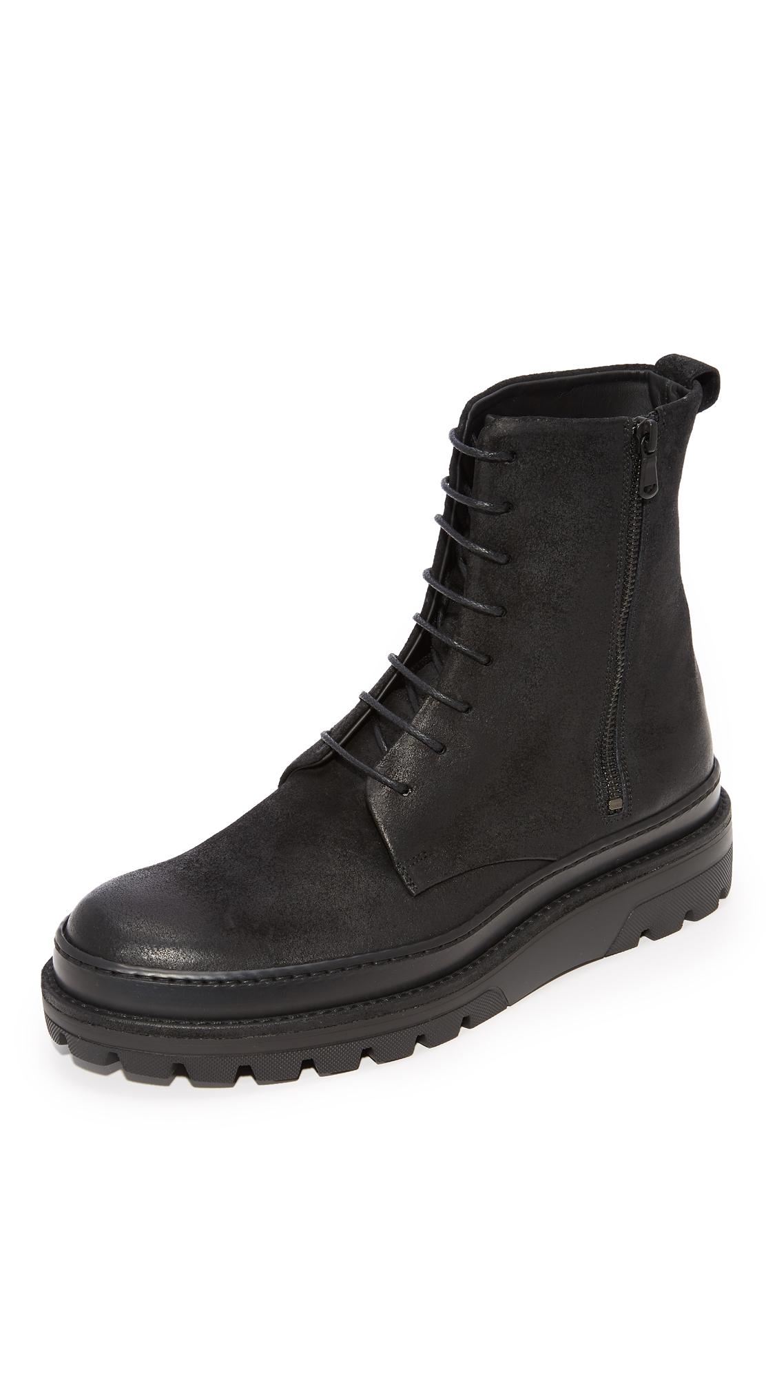 Vince Edgar Lace Boots In Black