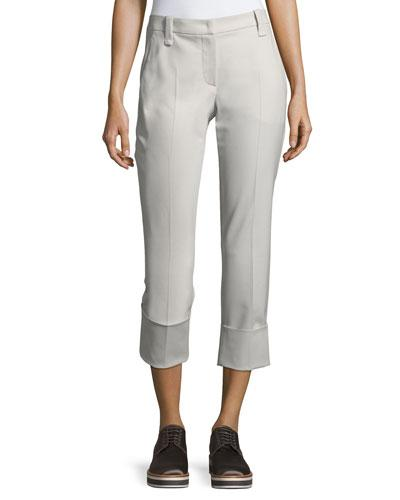 Brunello Cucinelli Stretch-wool Cropped Cuff Pants In Gray