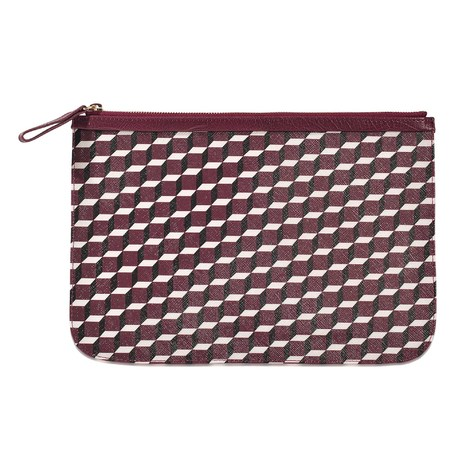 Pierre Hardy Pouch L Canvas Cube-calf In Black White Burgundy