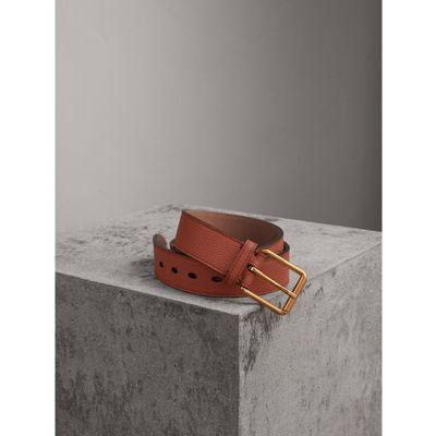 Burberry Grainy Leather Belt In Chestnut Brown