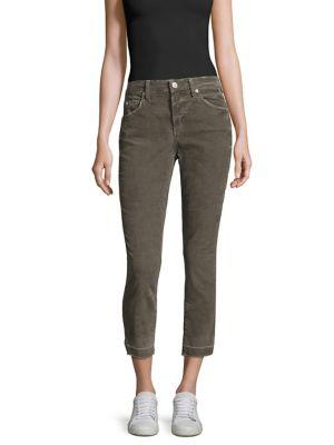 Amo Mid-rise Ankle-length Jeans In Grey Green