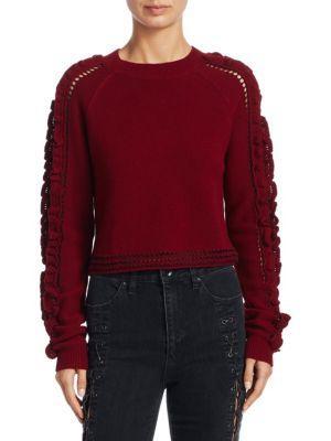 Jonathan Simkhai Crochet Ruffle Cropped Sweater In Cabernet Black