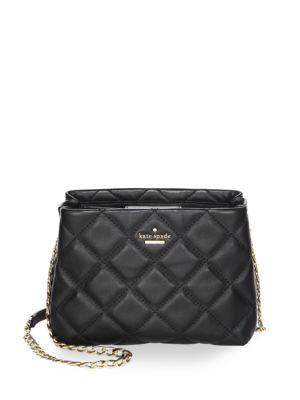 Kate Spade Emerson Place Jenia Quilted Leather Shoulder Bag In Black