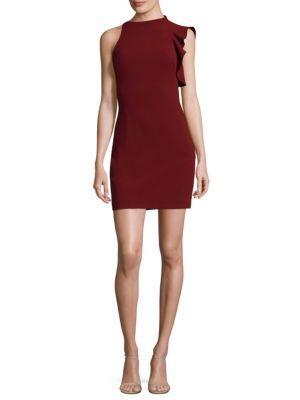 Black Halo Pabla Ruffle-shoulder Mini Dress In Belladonna