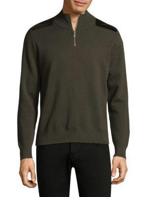 The Kooples Quarter Zip Wool Pullover In Green