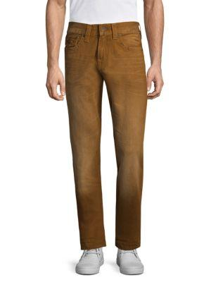 True Religion Geno W Flap Slim Straight Jeans In Brown