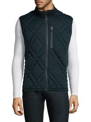 Andrew Marc Eden Zippered Vest In Ink