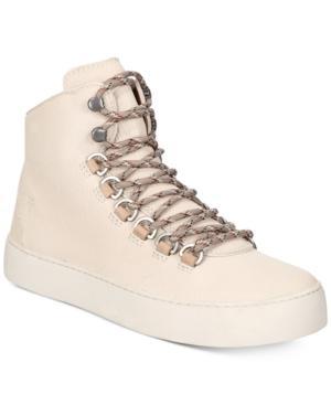 Frye Women's Lena Leather Platform Hiker Sneakers In White
