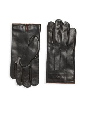 Coach Tech Leather Gloves In Black