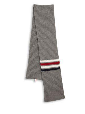 Thom Browne Stripe Wool Scarf In Light Grey