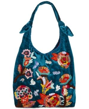 Steve Madden Dana Medium Hobo With Floral Embroidery In Blue