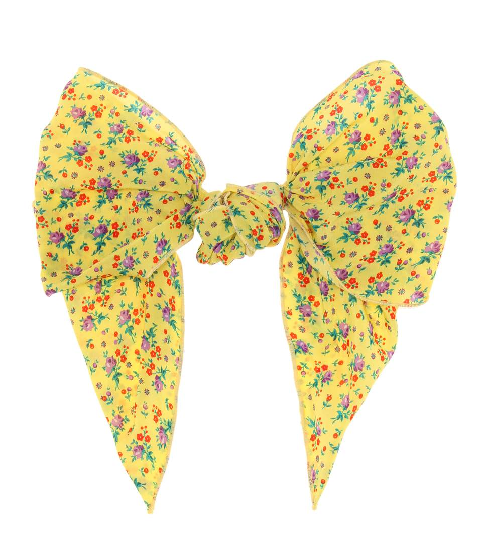 Alessandra Rich Floral-printed Silk Hair Clip In Yellow