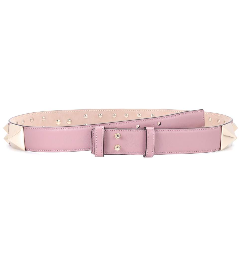 Valentino Garavani Leather Belt In Lipstick