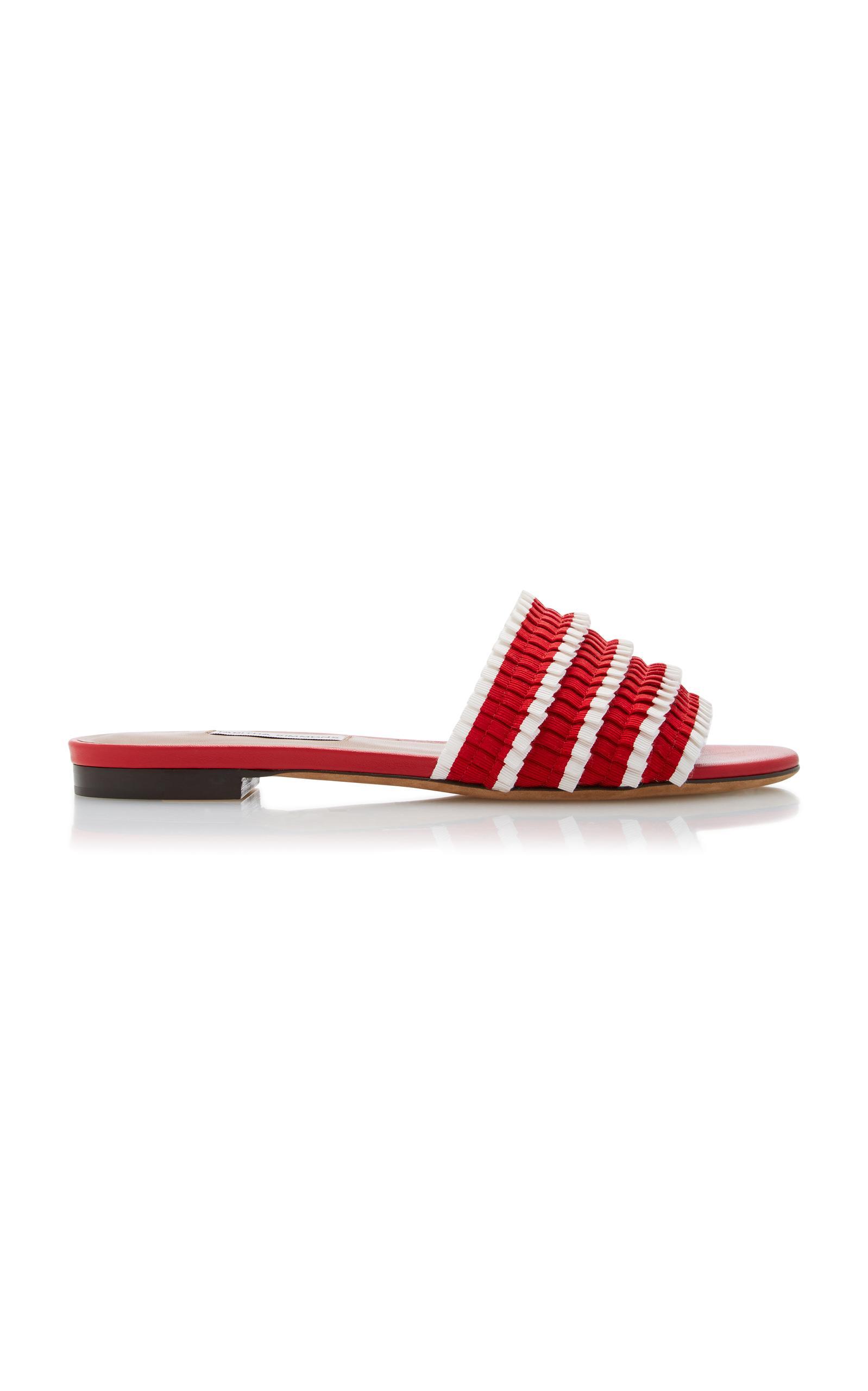 Tabitha Simmons Women's Sprinkles Pleated Ribbon Slide Sandals In Red