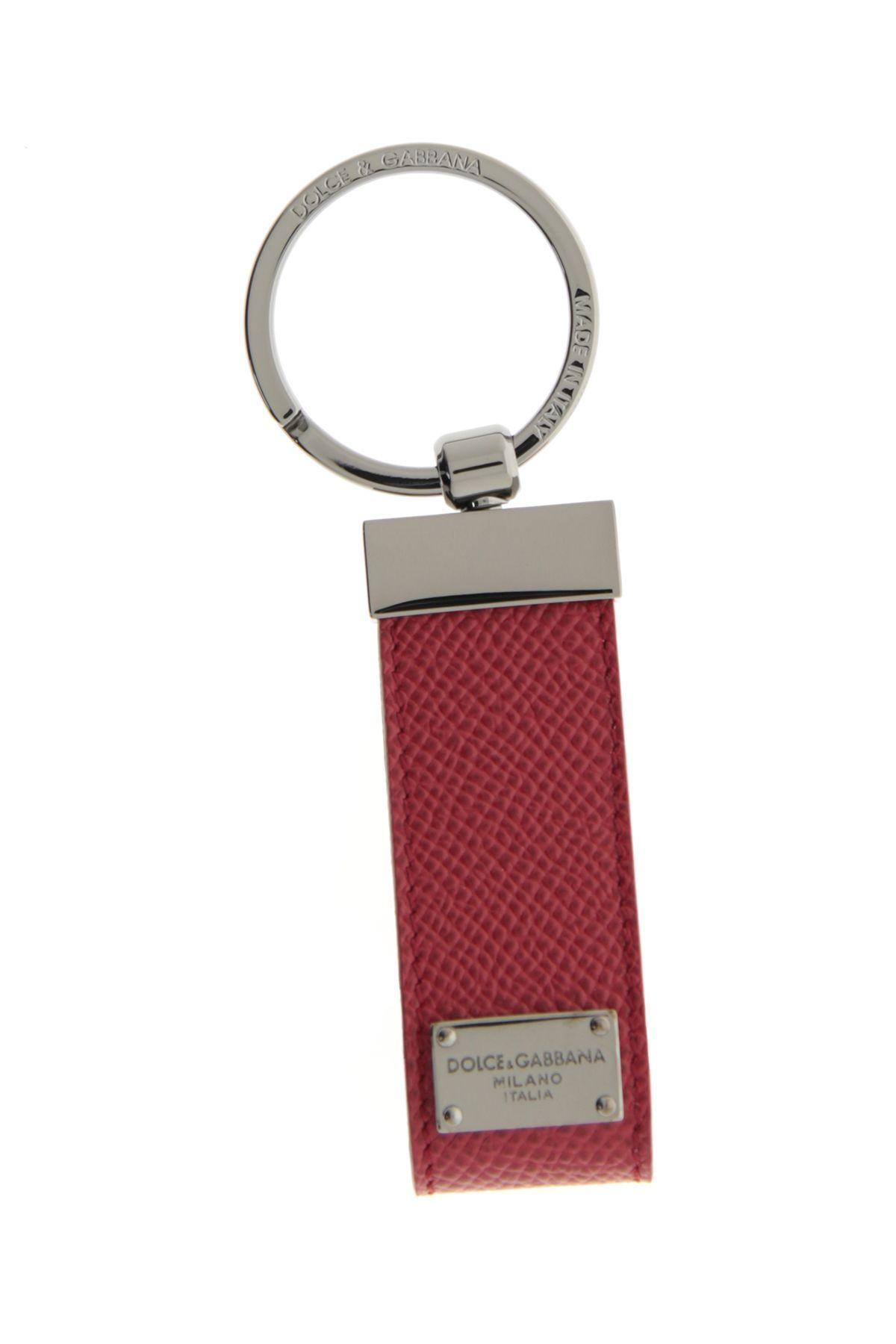 Dolce & Gabbana Leather Keychain In Rubinorosso
