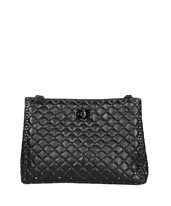 Valentino Rockstud Spike Leather Bag In Nero