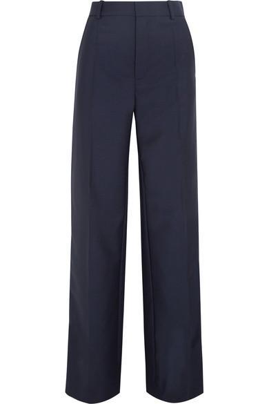 Joseph Ferdy Wool And Mohair-blend Wide-leg Pants In Navy