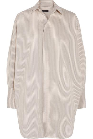 Bassike Oversized Striped Cotton And Silk-blend Shirt In Beige
