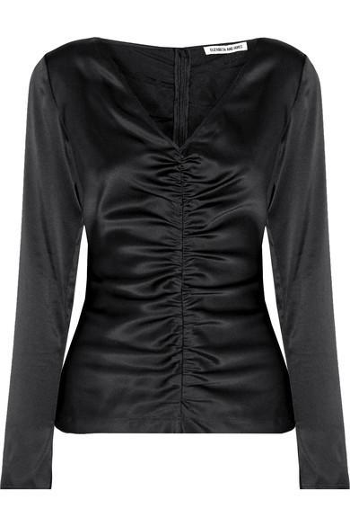Elizabeth And James Adela Ruched Silk-blend Satin Blouse In Black