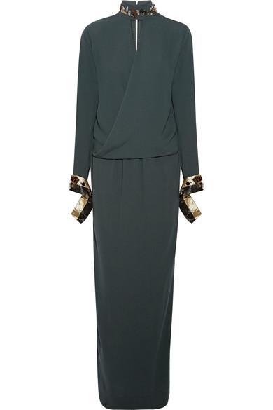 By Malene Birger Akumal Embellished Wrap-effect Crepe Maxi Dress In Emerald