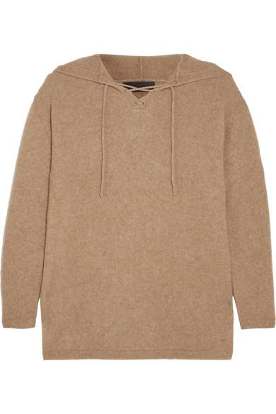 The Elder Statesman Heavy Hockey Lace-up Hooded Cashmere Sweater In Camel