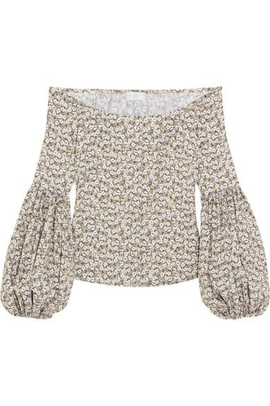 Caroline Constas Gisele Off-the-shoulder Floral-print Cotton-blend Poplin Top