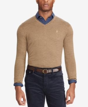 Polo Ralph Lauren Men's V-neck Merino Wool Sweater In Honey Brown Heather