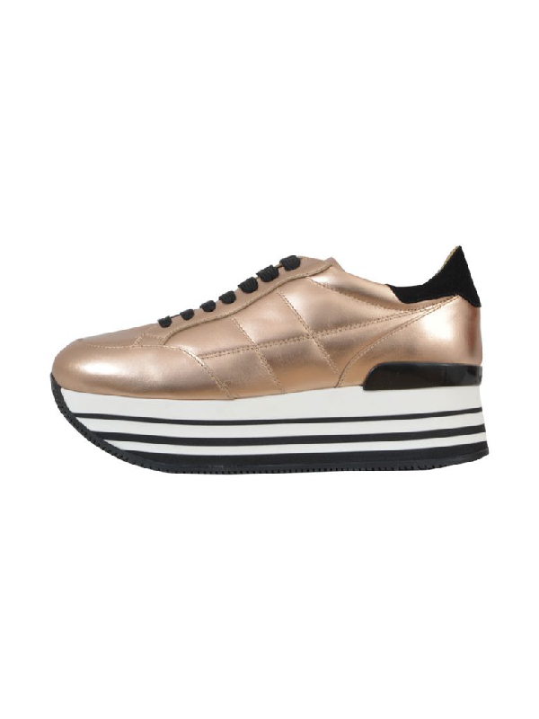 Hogan Maxi H222 Sneakers In Metallic-effect Leather In Gold