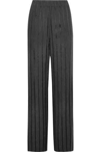 Alexander Wang Striped Woven Wide-leg Pants In Charcoal