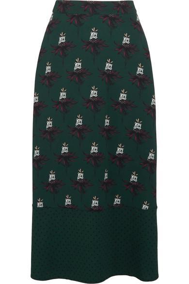 Markus Lupfer Printed Stretch-crepe Midi Skirt