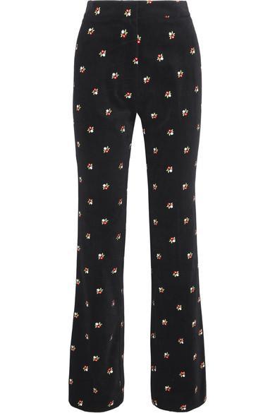 Alexa Chung Embroidered Cotton-velvet Straight-leg Pants In Black