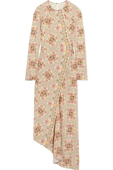 Vilshenko Karoline Wrap-effect Floral-print Silk-twill Midi Dress In Cream