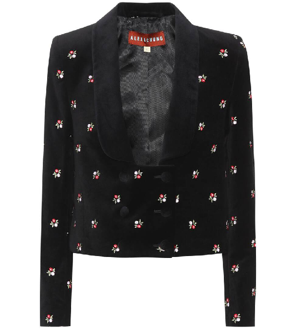 Alexa Chung Floral-embroidered Cropped Cotton-velvet Jacket In Black