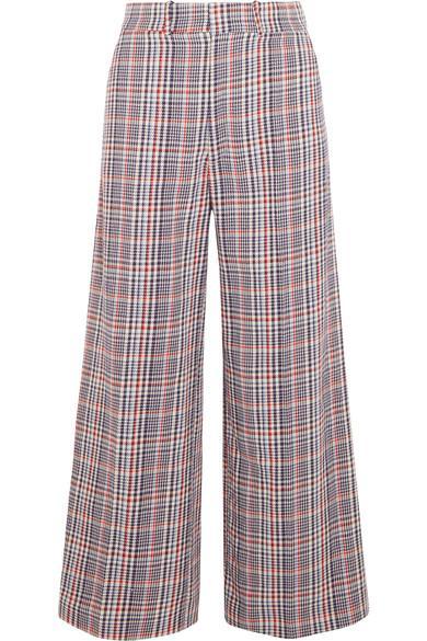 Joseph Ferrandi Checked Cotton-tweed Wide-leg Pants In Blue