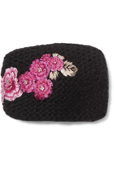 Jennifer Behr Embroidered Knitted Headband In Black