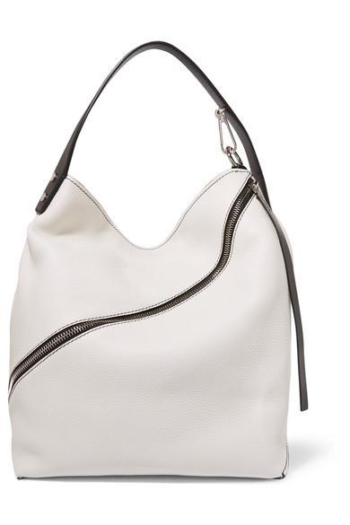 Proenza Schouler Hobo Medium Textured-leather Shoulder Bag In White