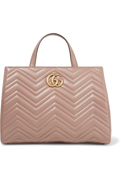 Gucci Gg Marmont Quilted Leather Tote In Taupe